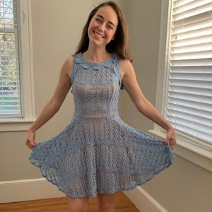 Jodi Kristopher Light Blue Lace Dress, Size 1